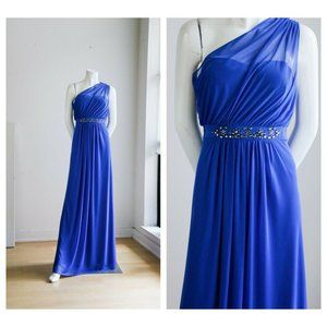 Adrianna Papell Electric Blue Asymetrical Gown